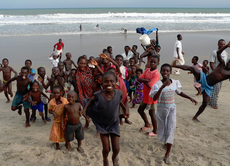 Ghanaian children having fun on the beach.