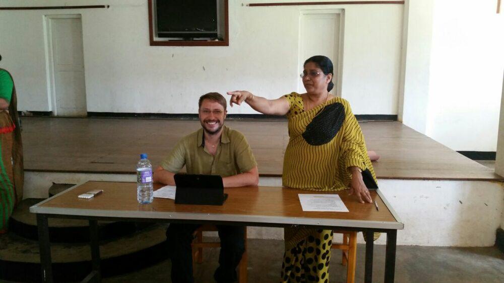 Keegan involved with teacher training alongside the school Principal