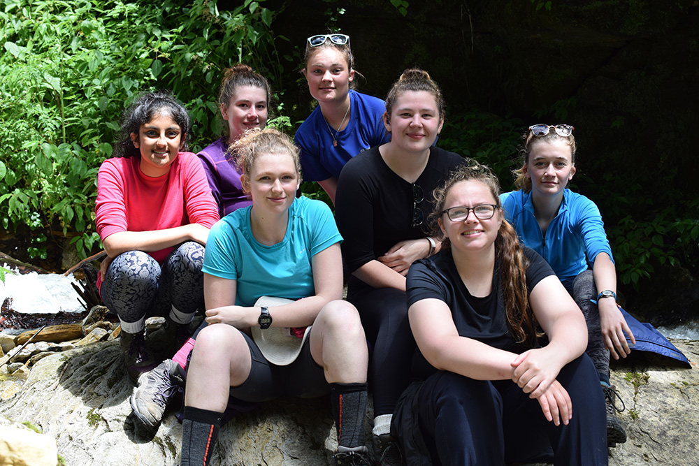 Georgie with other volunteers on the trek during the Mary Hare School Nepal trip with VoluntEars