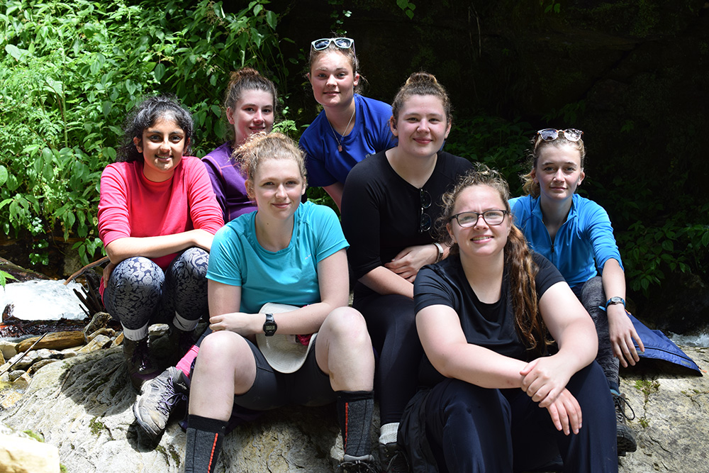 Grace with other volunteers on the trek during the Mary Hare School Nepal trip with VoluntEars