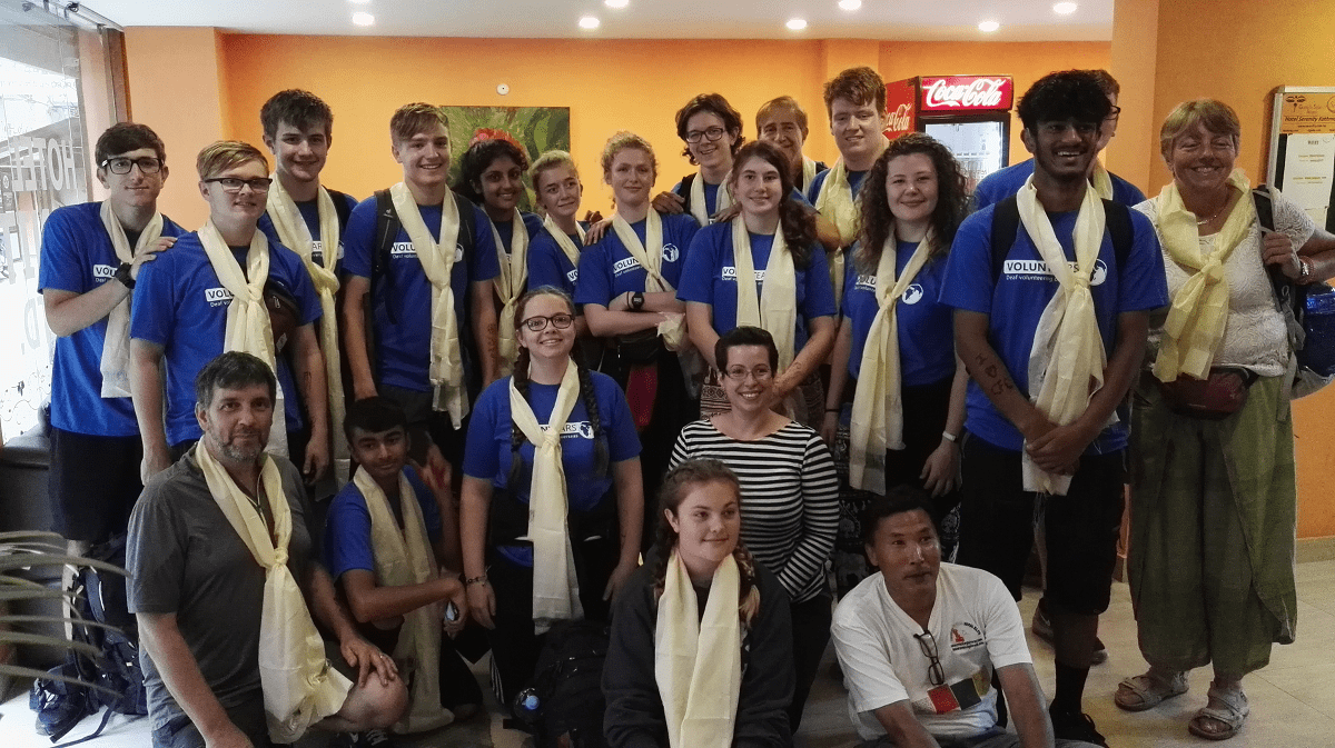 Mary Hare School students and teachers on their last day in Nepal