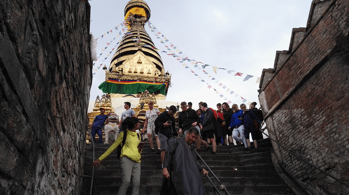 Volunteers from Mary Hare School visiting the Monkey Temple in Kathmandu, Nepal, on a trip with VoluntEars