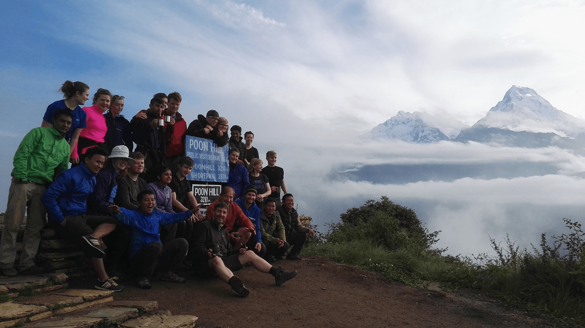 The view from Poon Hill in the Himalayan mountains in Nepal on a VoluntEars trip