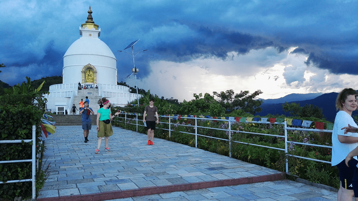 Visiting the World Peace Pagoda in Pokhara, Nepal as part of a VoluntEars trip | Deaf volunteering overseas