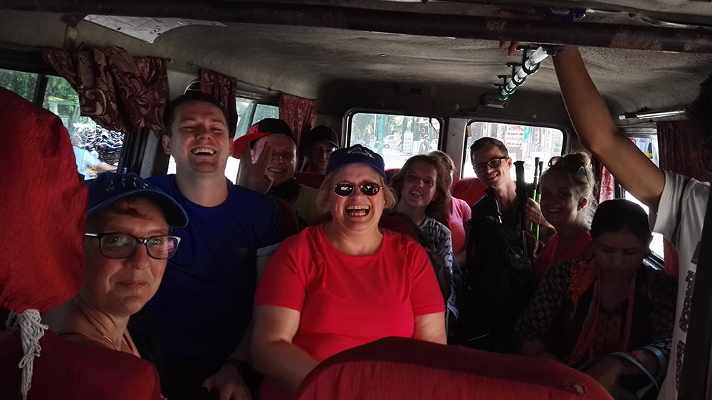 Sandra taking a local bus in Pokhara during her Nepal trip with VoluntEars