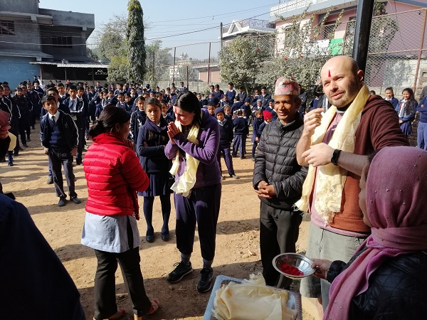 Being welcomed to the Deaf school in Nepal. David the Communicator interpreting the local sign language