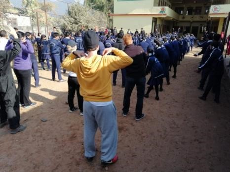 Morning exercises with students at a Deaf school in Nepal