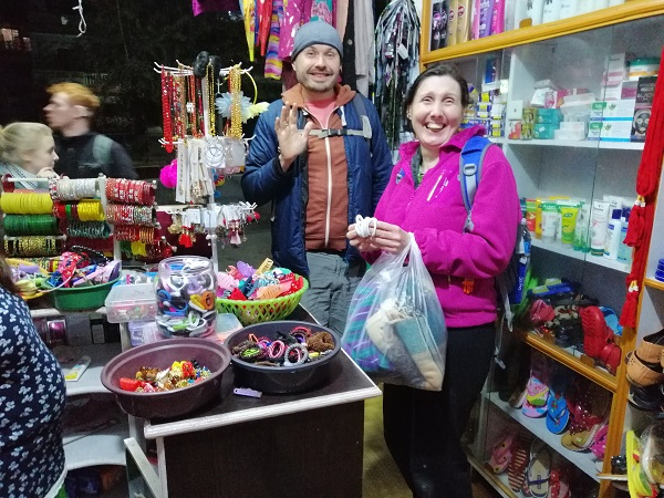Shopping in Pokhara with VoluntEars Interpreter David, while volunteering in Nepal