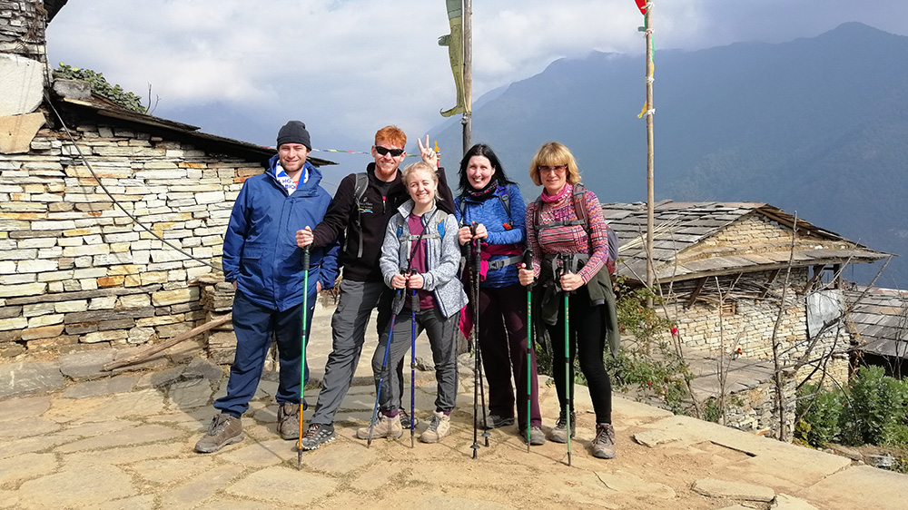 Sally starting the Himalayan trek during her Nepal trip with VoluntEars